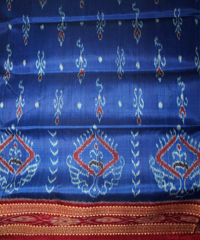 Handwoven Patli Khandua Silk Saree of Nuapatna in Blue and Maroon