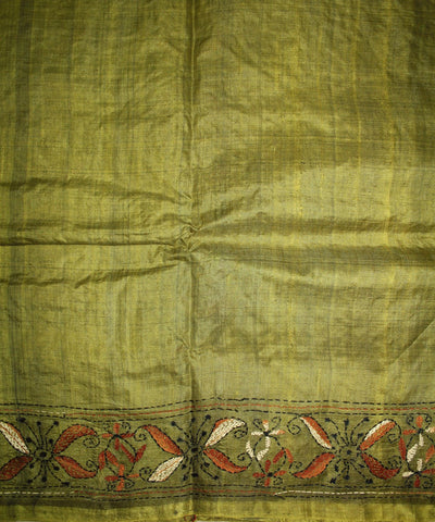 Handwoven Kantha Stitch Tussar Silk Saree in Mehendi Green