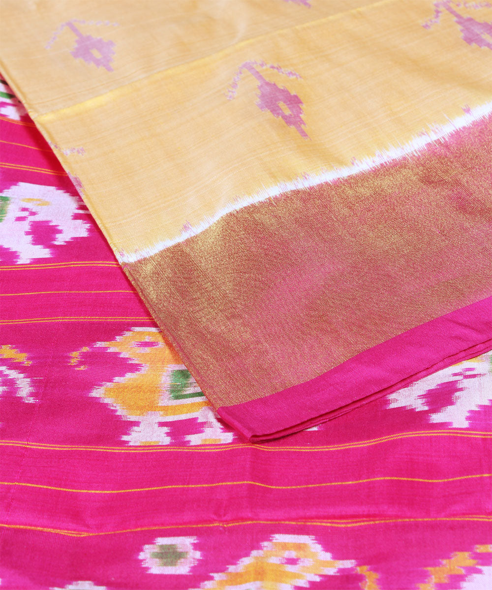 Light Orange Handloom Pochampally Silk Saree