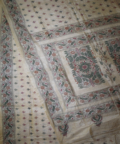 Handwoven Kantha Stitch Tussar Silk Saree in Offwhite