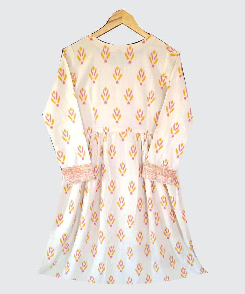 Cream Printed Handspun Handwoven Kora Cotton Kurti