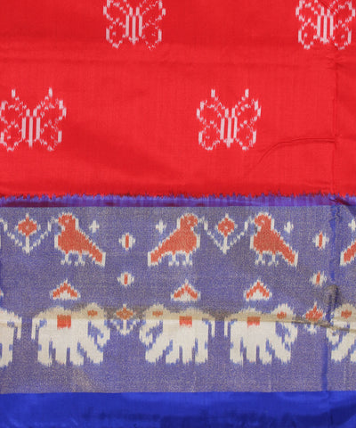 Red Blue Butterfly Handloom Ikkat Silk Saree