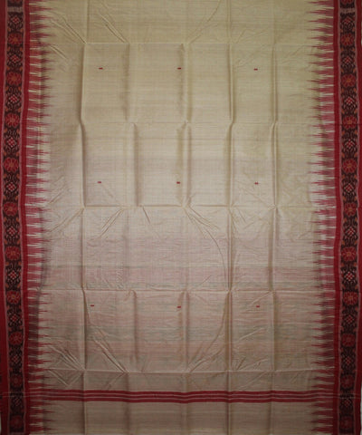 Handwoven Tussar Silk Saree of Gopalpur in Offwhite and Red