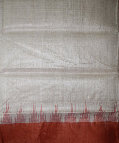 Handwoven Tussar Silk Saree of Gopalpur in Offwhite and Rust