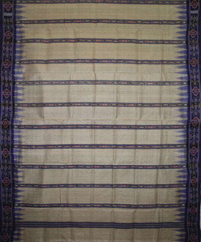 Handwoven Tussar Silk Saree of Gopalpur in Offwhite and Blue