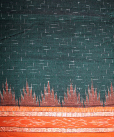 Handwoven Nuapatna Ikat Cotton Saree in Dark Green and Orange