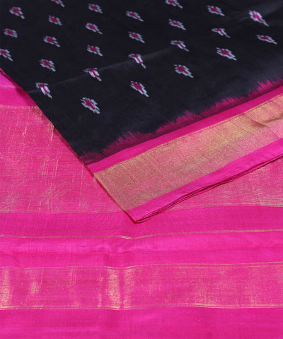 Black Pink Handloom Ikkat Silk Saree