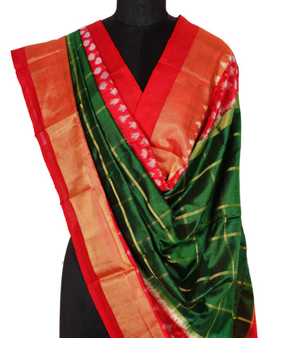 Green Check Handloom Ikkat Silk Dupatta
