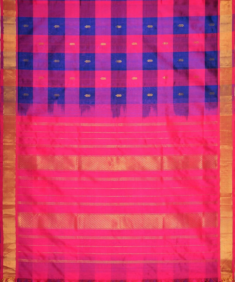 Blue and pink checks kanjivaram silk cotton saree