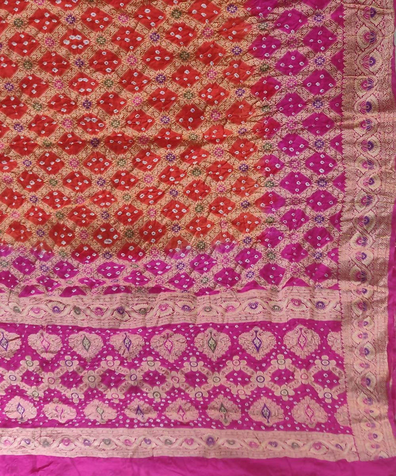 Pink Orange Handprinted tie dye Bandhani Silk Saree