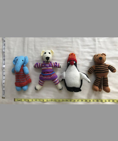 Animal Hand Knitted Woollen Stuffed Soft Toys Set of 4