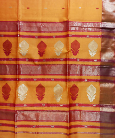 Maheshwari Orange Handloom Cotton Silk Saree