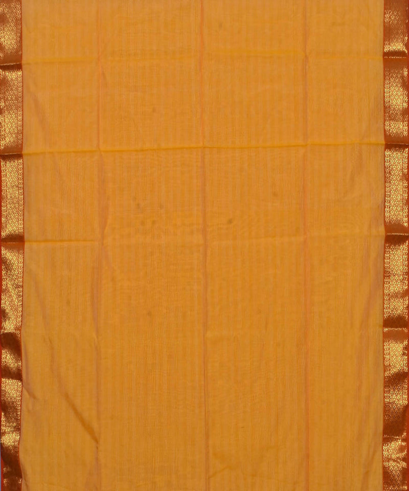 Handloom Light Orange Maheshwari Sico Saree