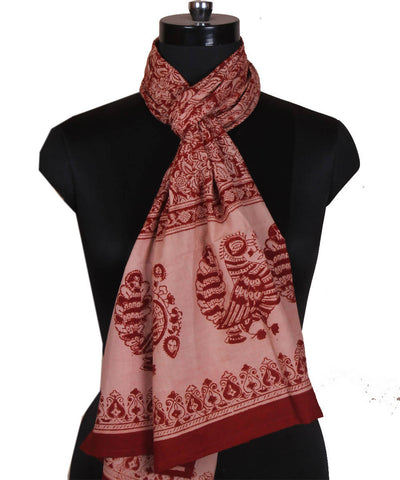 Hand Print Kalamkari Stole in Red