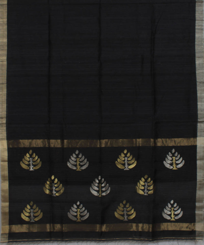 Black Tussar Cotton Handloom Bengal Saree