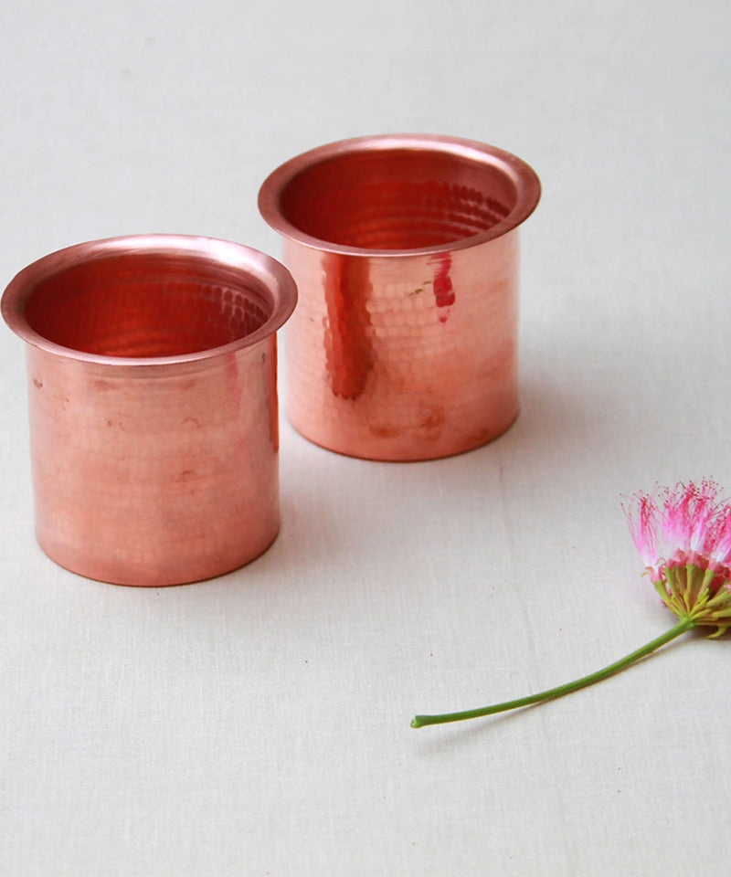 Handmade copper linear tumbler (set of 2)
