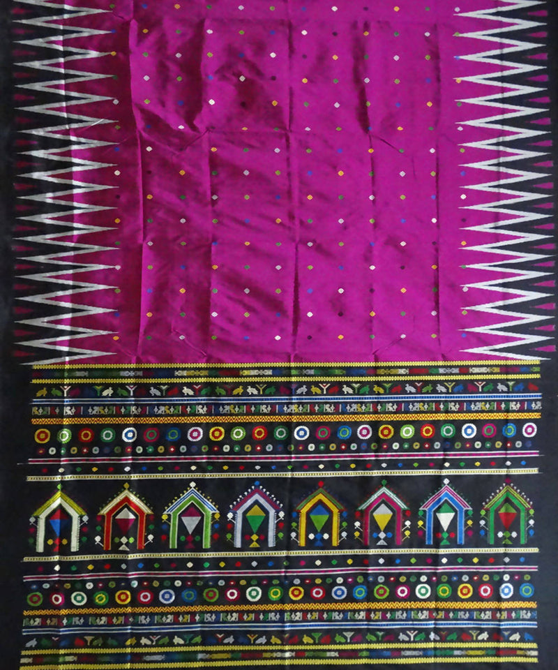 Purple handwoven Dolabedi bomkai silk saree