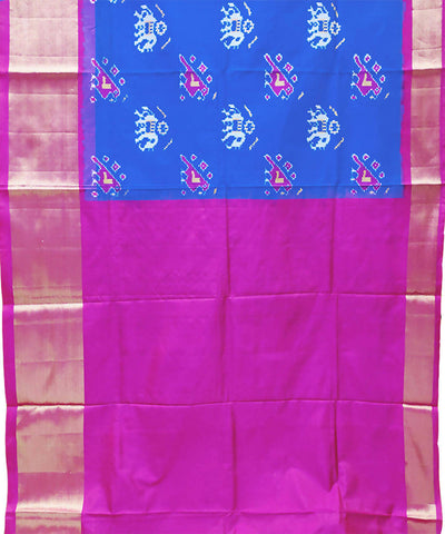 Dark blue with pink handwoven pochampally ikkat silk lehanga material