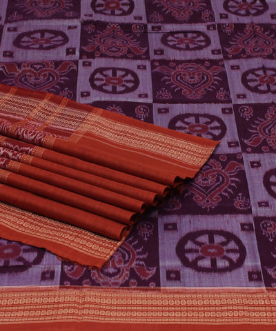 Sambalpuri Handloom Purple Coral Cotton Saree