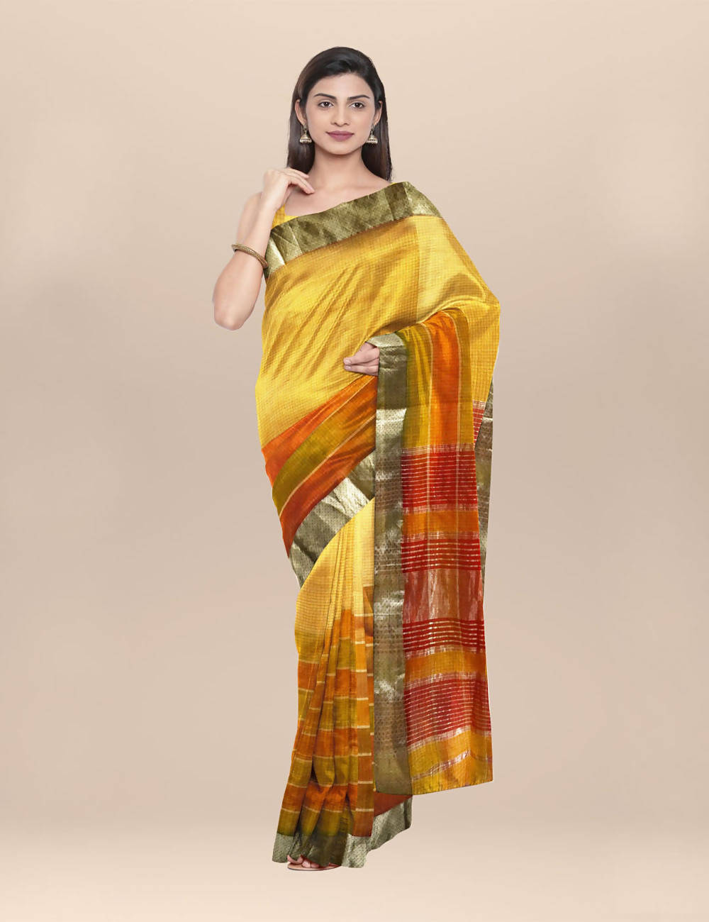 Yellow handwoven maheshwari cotton saree