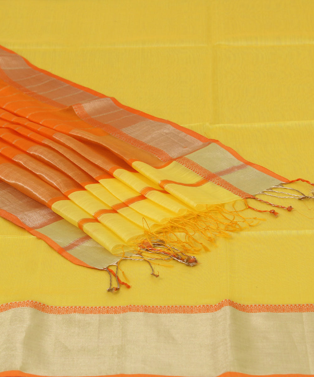 Handwoven Canery Yellow Maheshwari Sico Saree