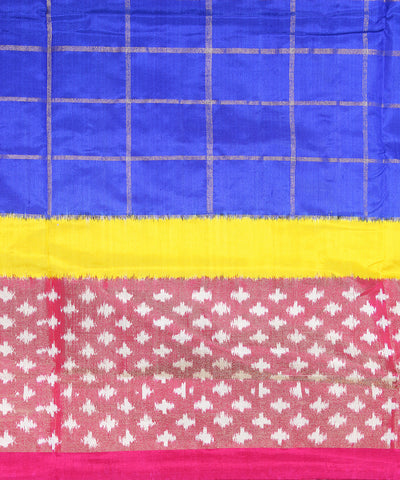 Blue and Pink Check Handloom Ikkat Silk Saree