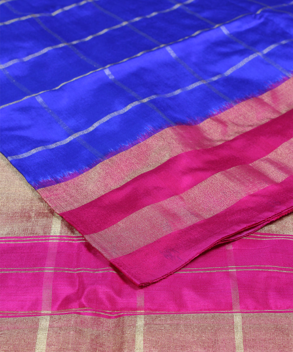 Blue and pink check handloom ikkat silk pochampally saree