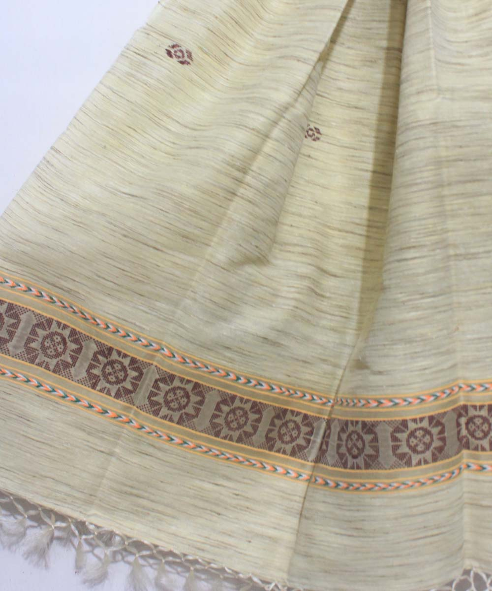 Tussar Silk Handwoven Off White Shawl
