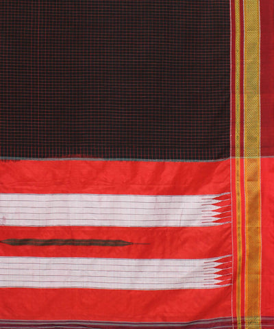 Black Red Checks Handloom Ilkal Cotton Saree