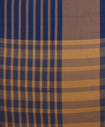 Handwoven Butterscotch and Blue Cotton Saree