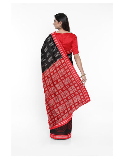 Black and Red Cotton Sambalpuri Ikat Saree