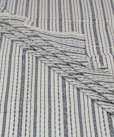 White Black Stripe Nuapatna Handloom Fabric