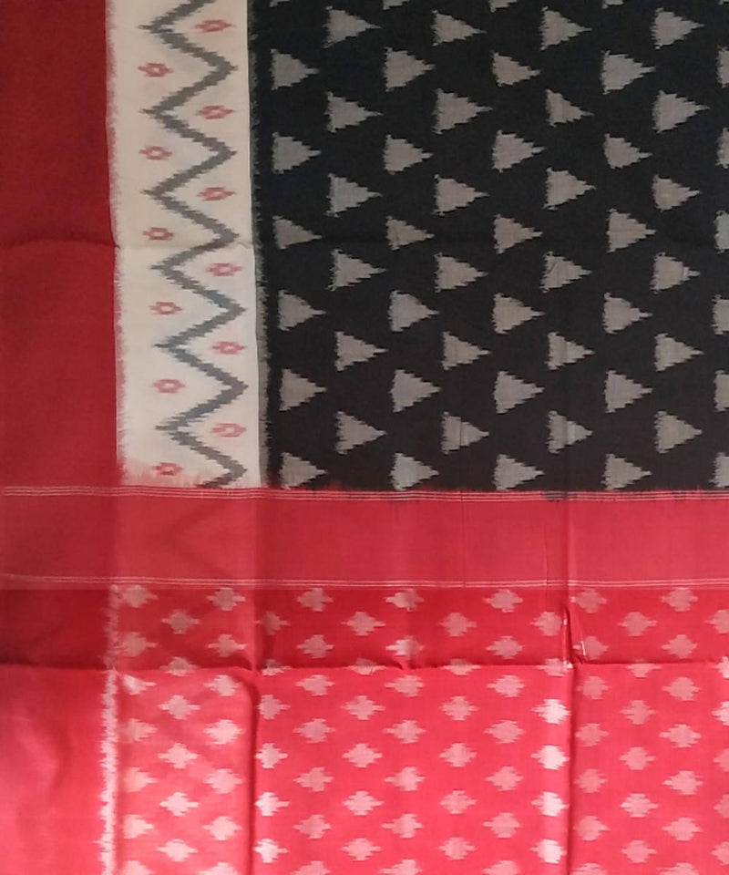 Pochampally Ikkat Black Red Handloom Cotton Saree