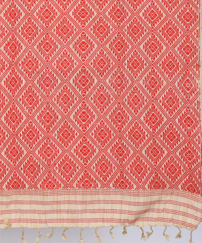 Assam Handwoven Red Cotton and Eri Chador