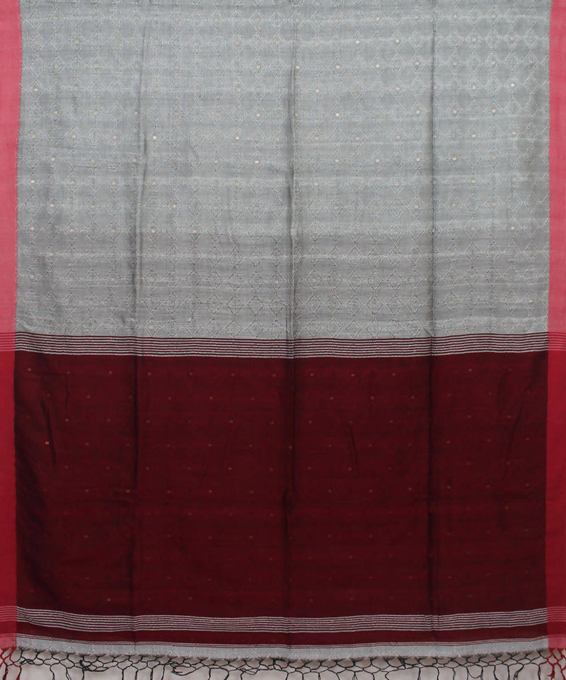 Grey Maroon Handloom Sequin Cotton Saree
