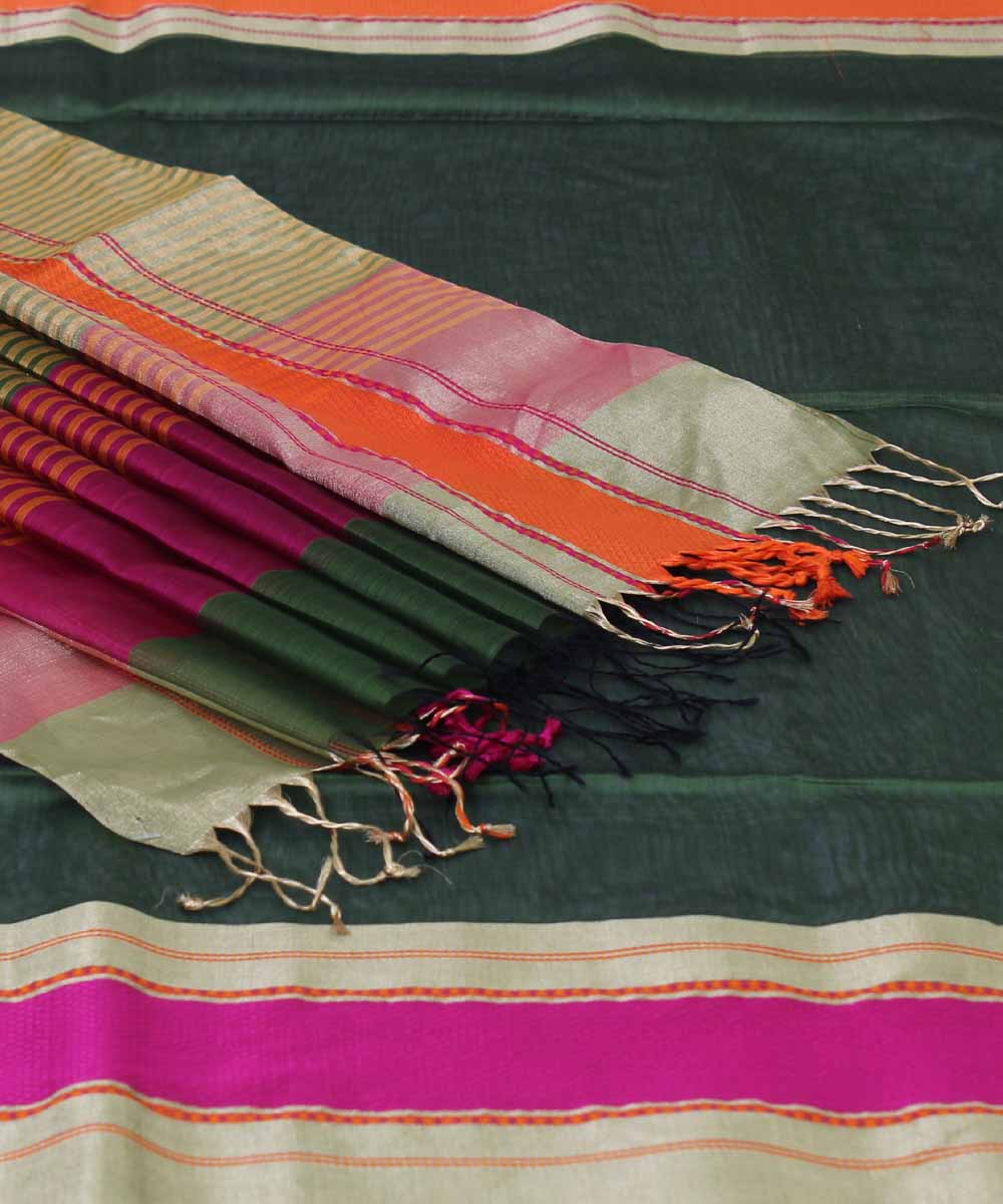 Green and Pink Handloom Maheshwari Sico Saree