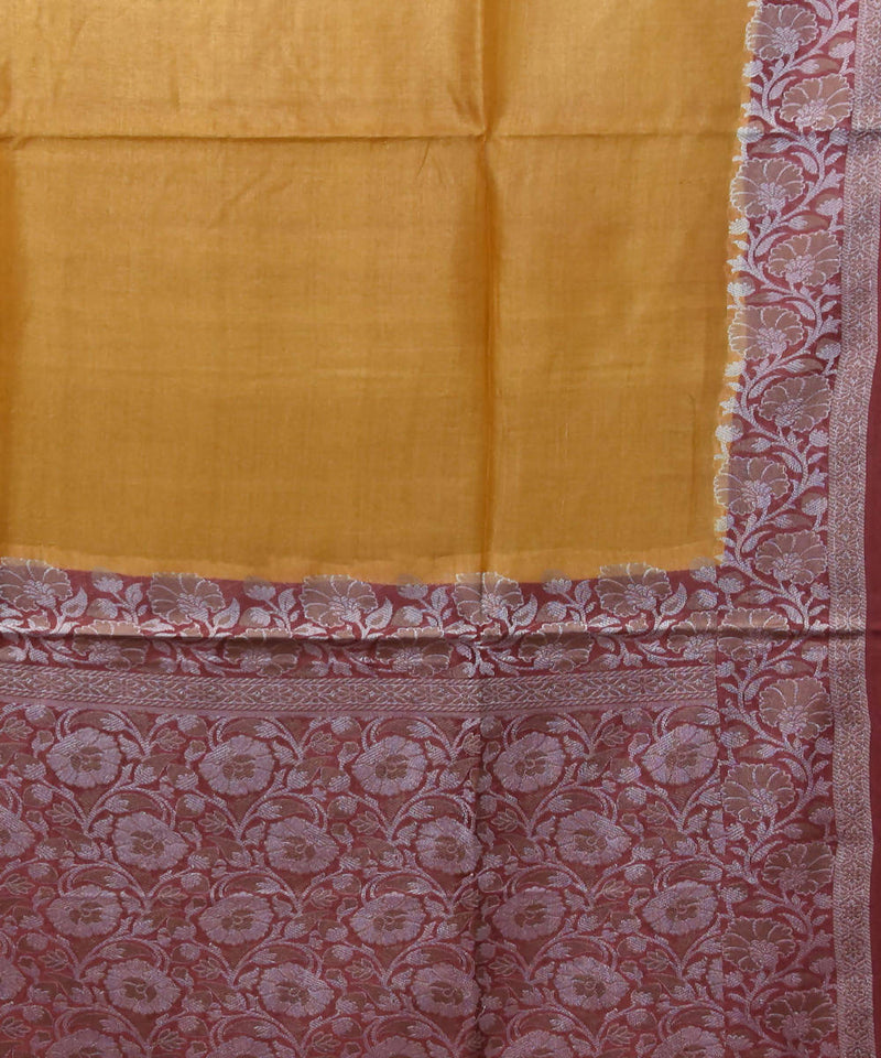 Banarasi Mustard Orange Handloom Silk Saree