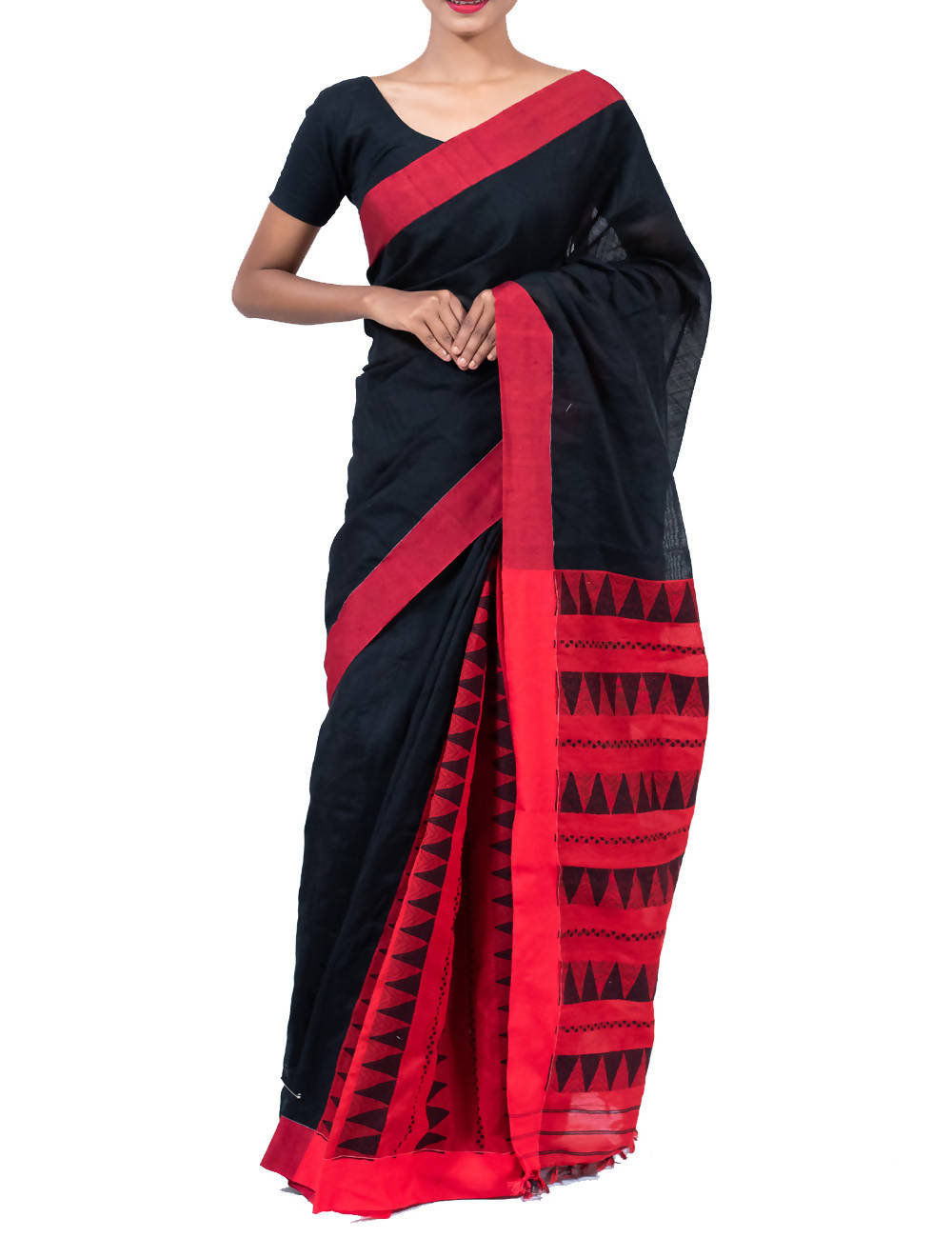 Black and Red Cotton Patli Handloom Saree