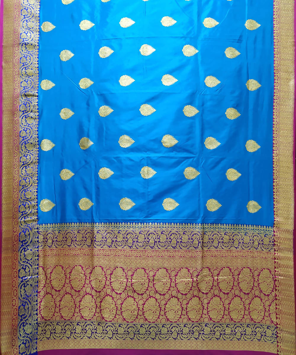 Banarasi blue handwoven katan silk saree