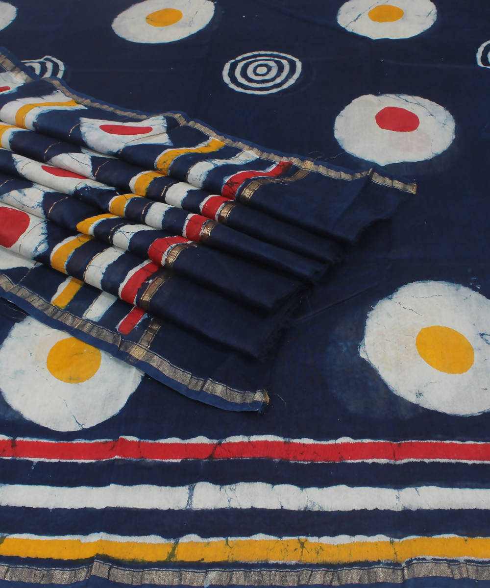 Navy Blue Hand Block Print Chanderi Saree