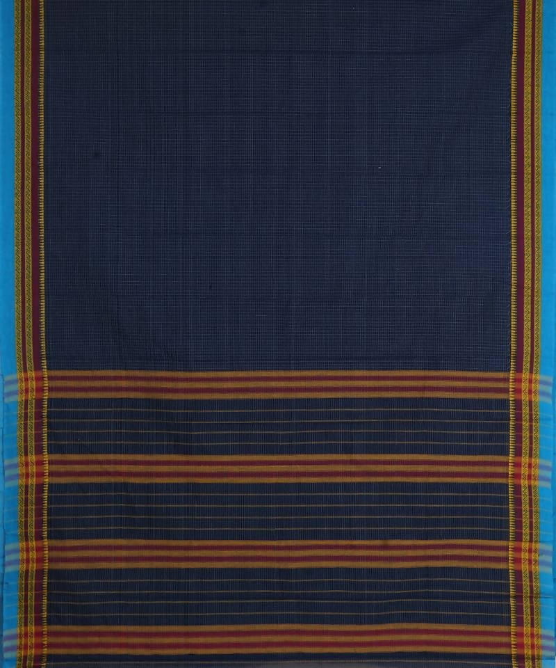 Handloom Dark Blue Narayanpet Cotton Saree