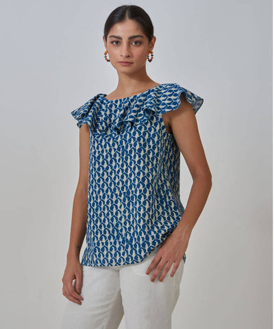 Handblock Printed Indigo cotton Frill Top