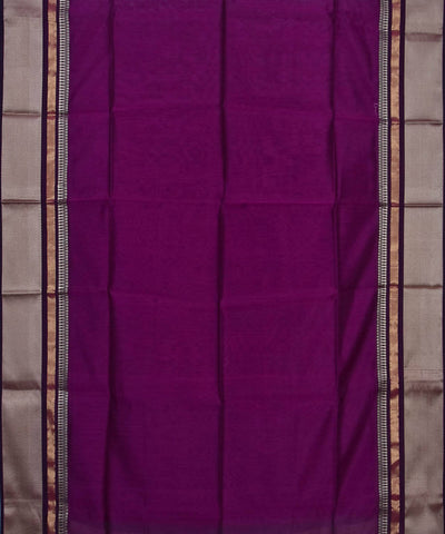 Handloom Dark Purple Maheshwari Sico Saree