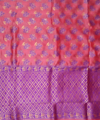 Banarasi Punch Pink Blue Handloom Katan Silk Saree