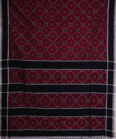 Maroon Black Telia Rumal Ikkat Cotton Saree