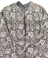 Taupe grey handblock printed cotton quilted long jacket