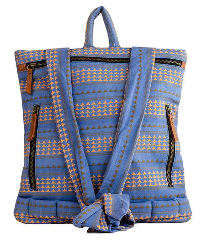 Blue Handwoven Cotton Crossbody cum Backpack