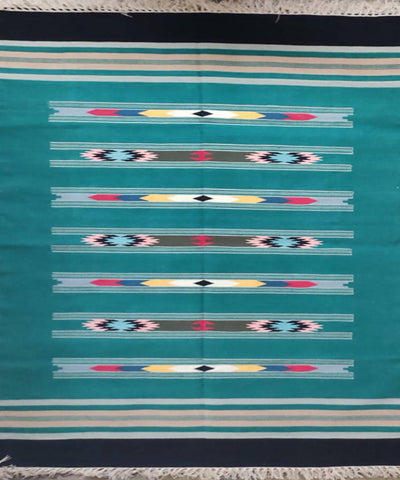 Teal Green Handloom Interlock Cotton Dhurrie