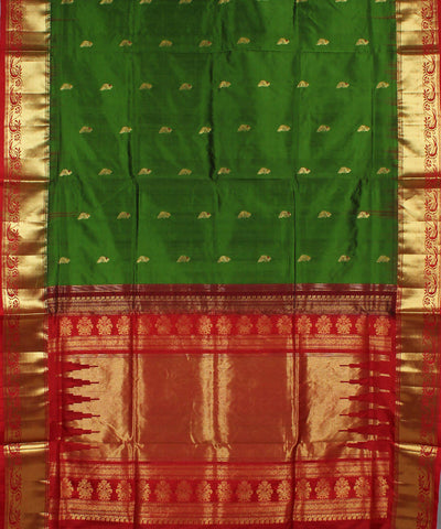 Dark Green Red Karnataka Handloom Silk Saree