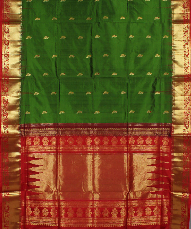 Khadi Dark Green Red Handloom Silk Saree